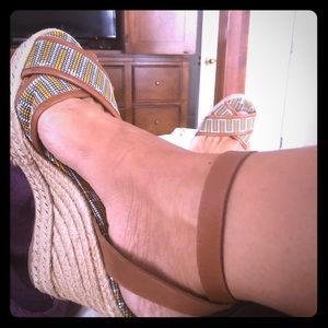 Tory Burch wrap front wedges!